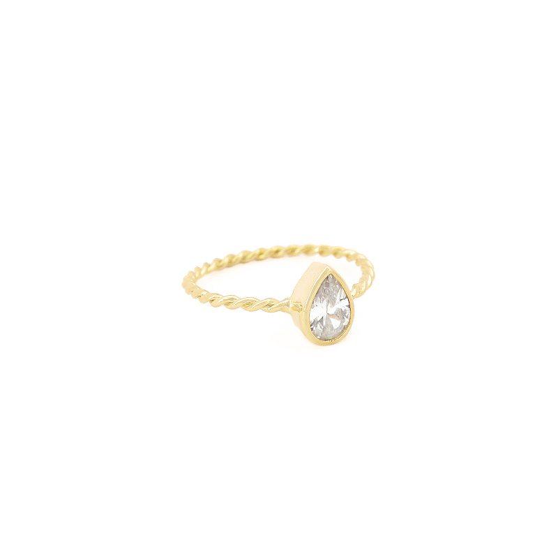 anillo lagrima cristal dorado