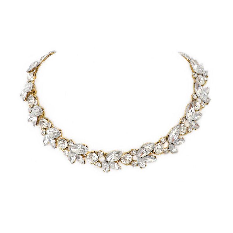 imagen de collar de cristales dorado
