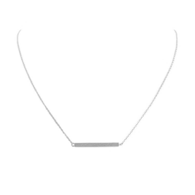 comprar collar colgante barra plateado