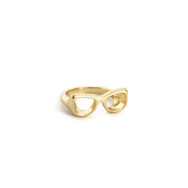 comprar anillo gafas nerd dorado
