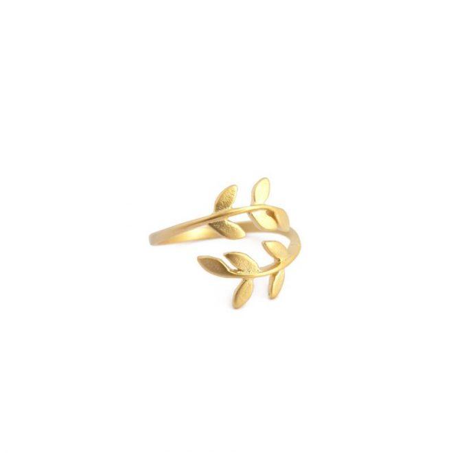 comprar anillo hojas dorado