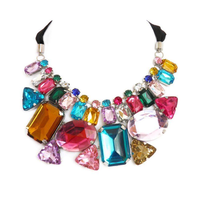 comprar collar con pedrería XL multicolor