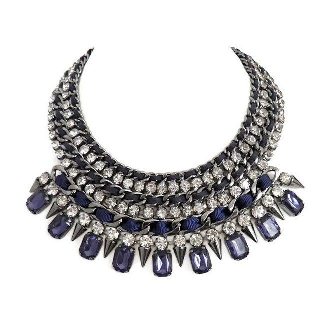 comprar collar de cristales y pinchos azul