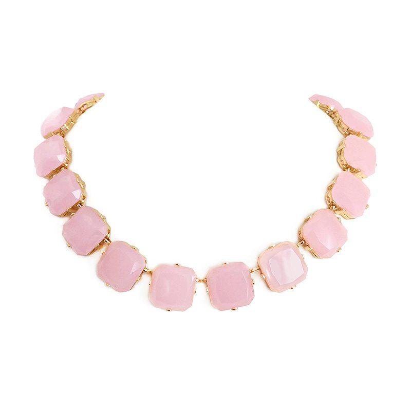 dónde comprar collar de piedras cuadradas rosa