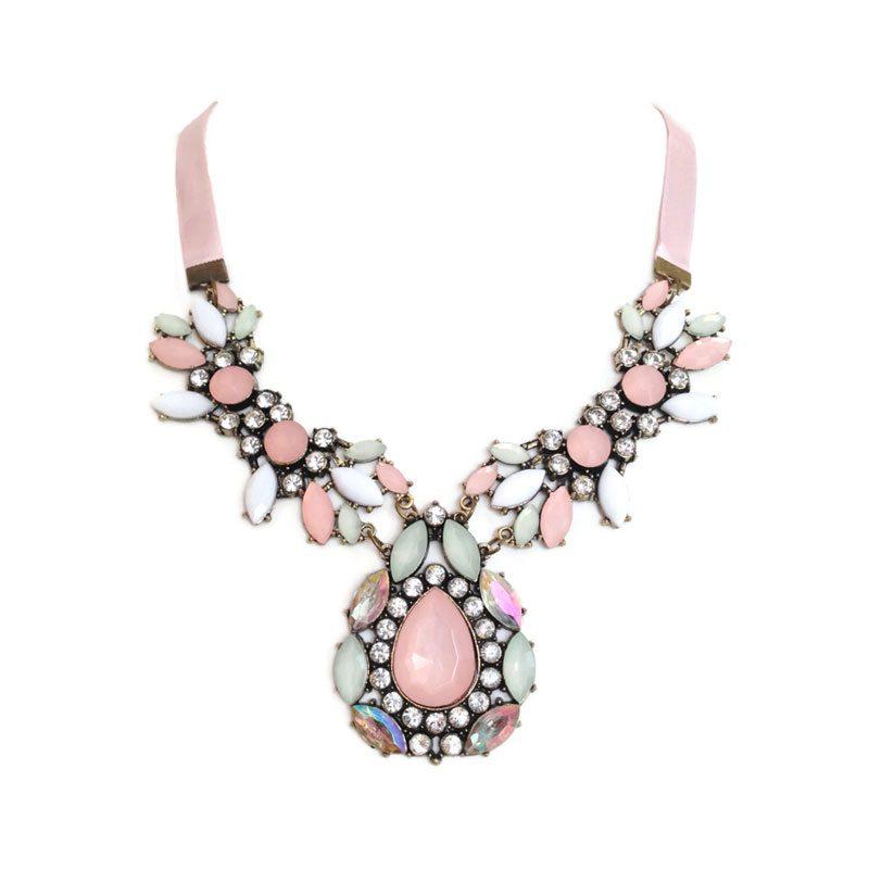comprar collar rosa con cristales