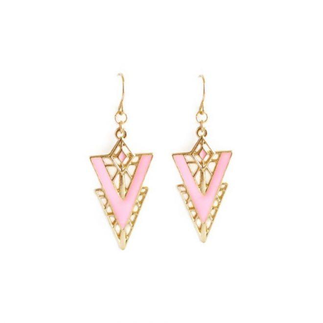 comprar online pendientes con diseño geométrico rosa
