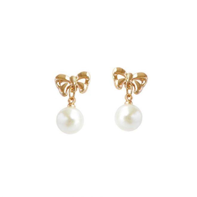 dónde comprar pendientes de lazo dorado con perla