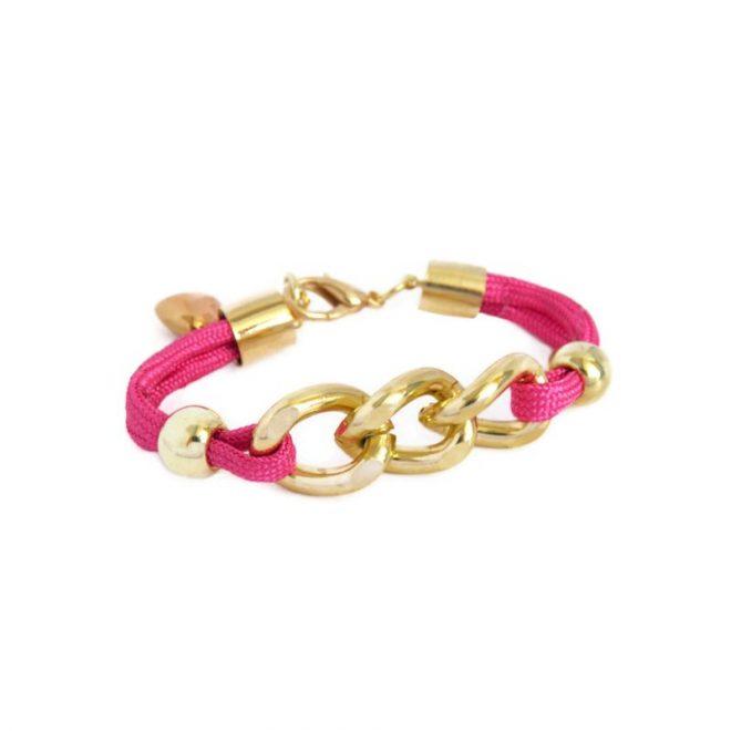 comprar online pulsera de cuerda y eslabones rosa