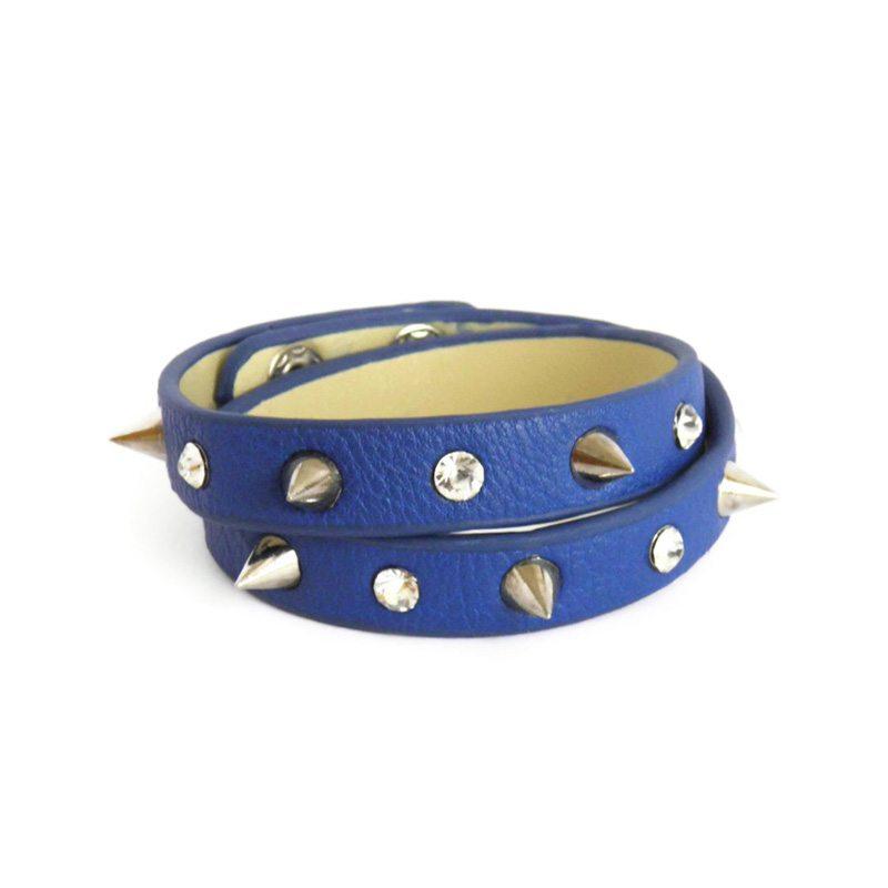 dónde comprar pulsera de cuero con pinchos y cristales azul
