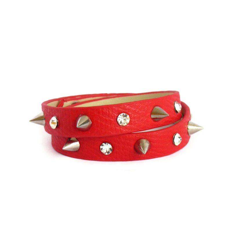 comprar pulsera de cuero con pinchos y cristales roja