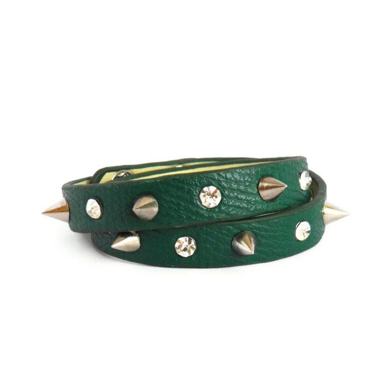 comprar pulsera de cuero con pinchos y cristales verde