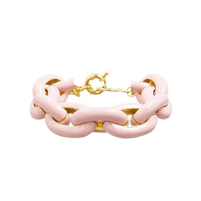 comprar online pulsera de eslabones rosa