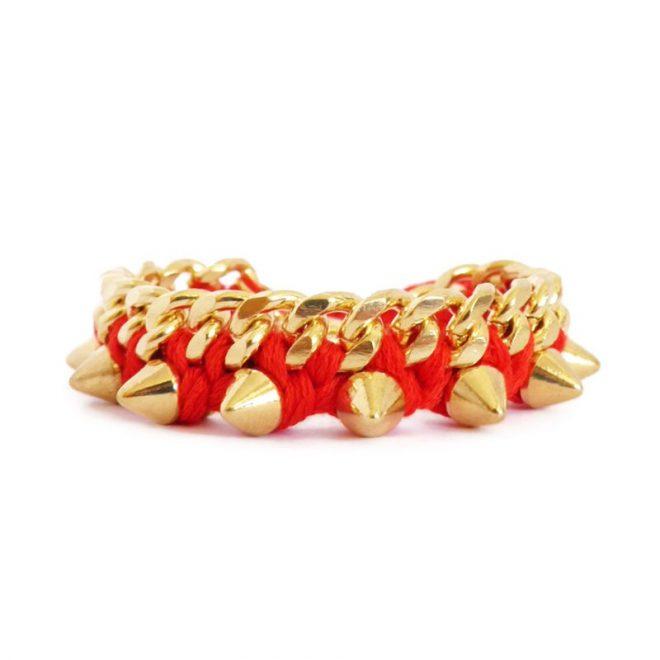 comprar online pulsera de eslabones y pinchos rojo