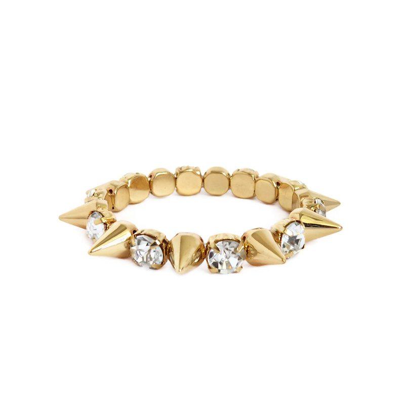 comprar online pulsera elástica con púas dorada