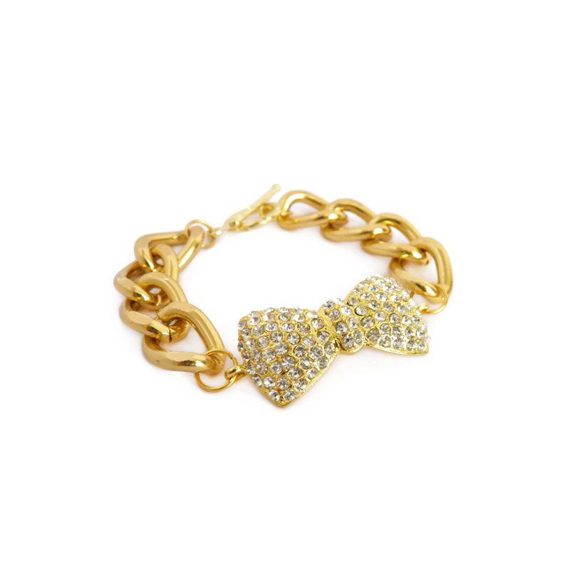 comprar online pulsera lazo de cristales dorada