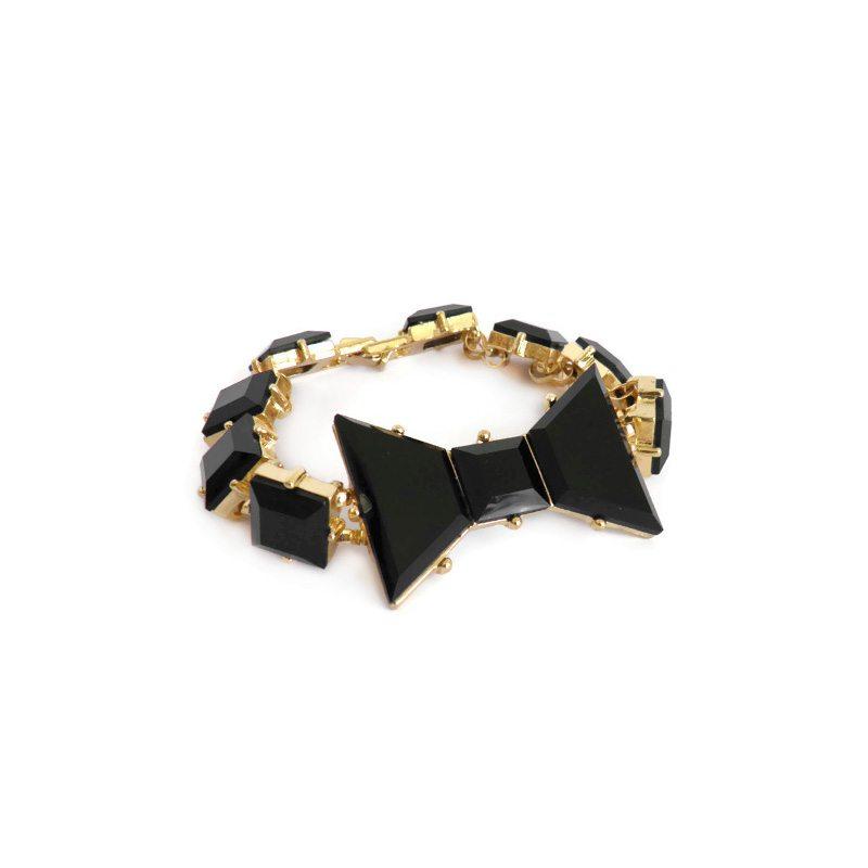 comprar online pulsera lazo de piedras negras