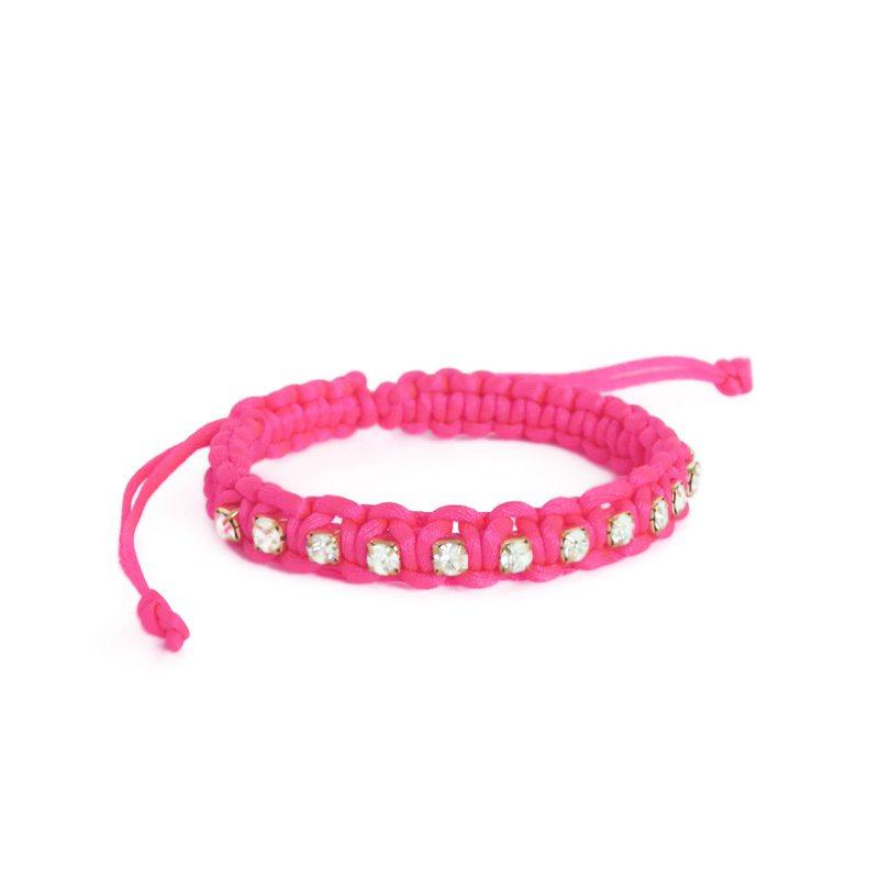 dónde comprar pulsera rosa flúor con cristales