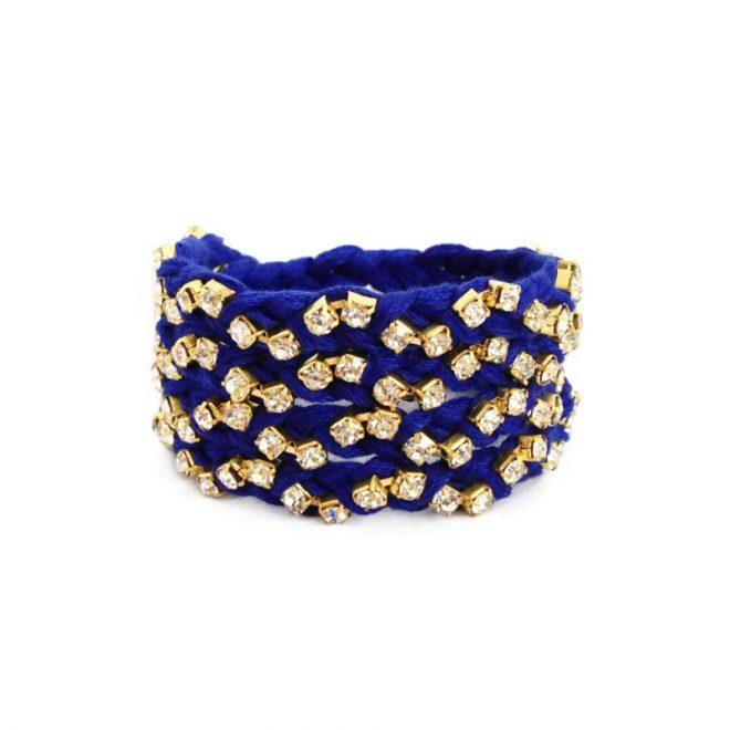 comprar pulsera trenzada con cristales azul