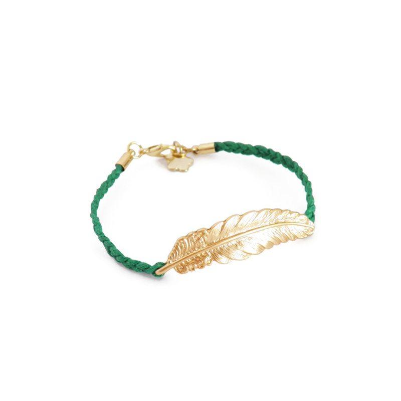 dónde comprar pulsera trenzada con pluma verde