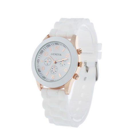 comprar reloj analógico dorado blanco