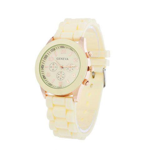 dónde comprar reloj analógico dorado crema