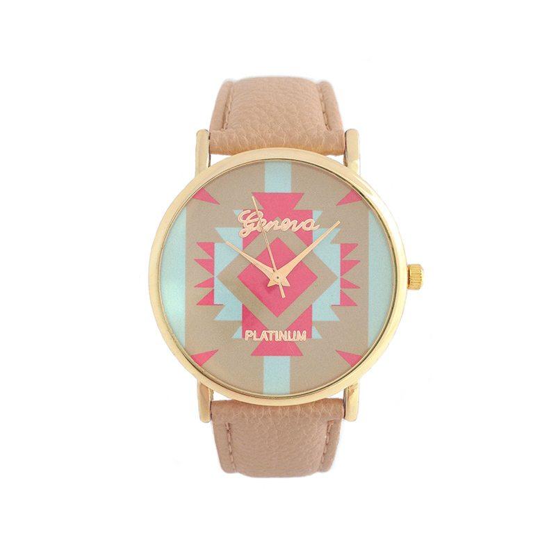 imagen de reloj etnico beige