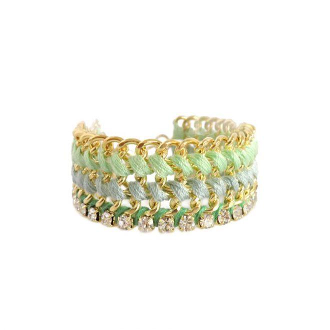 imagen de pulsera trenzada verde