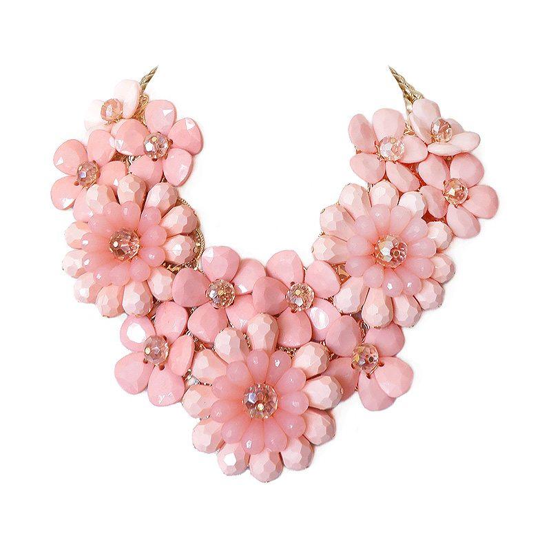 imagen de collar flores xl coral