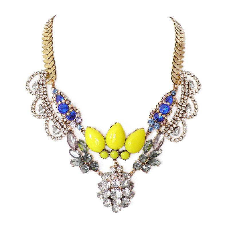 imagen de collar de piedras amarillo y azul