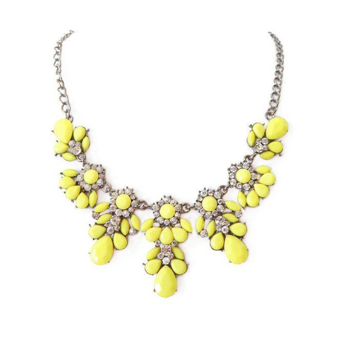 imagen de collar piedras amarillo fluor