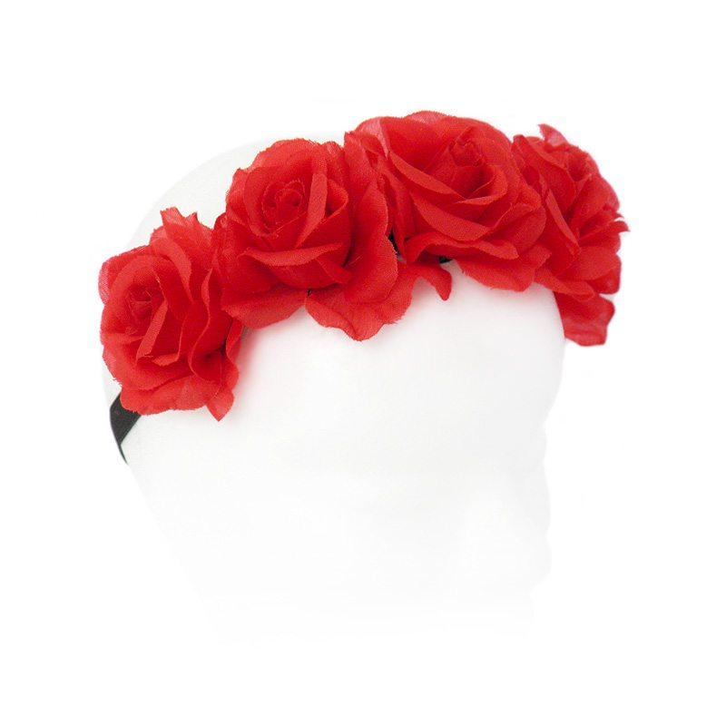 imagen de diadema flores rojas