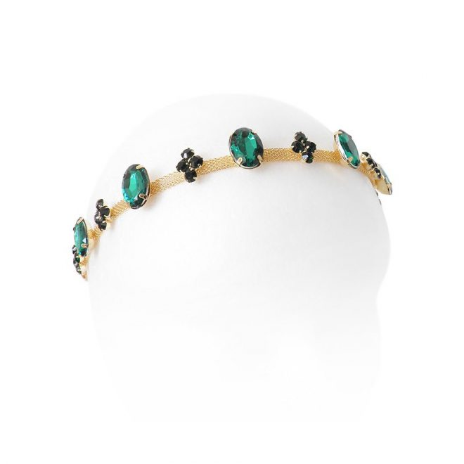 comprar diadema dorada con piedras verdes