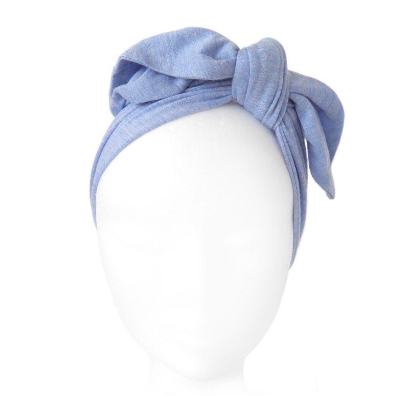 comprar diadema nudo de tela azul