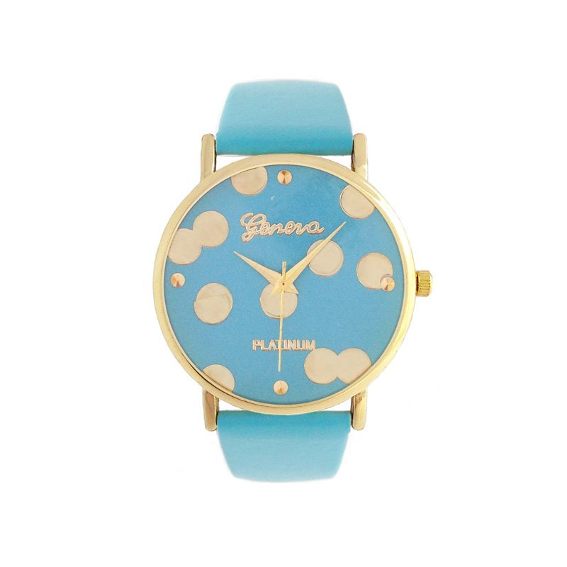 imagen de reloj lunares dorados correa azul