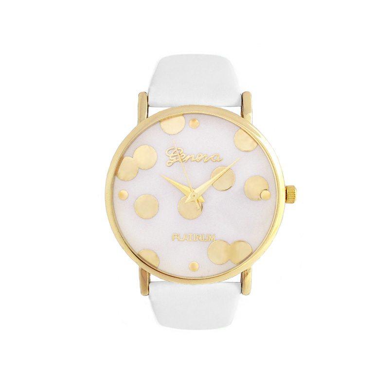 imagen de reloj lunares dorados correa blanca