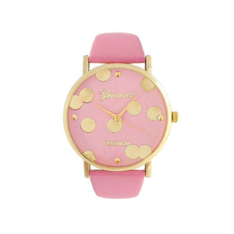 imagen de reloj lunares dorados correa rosa