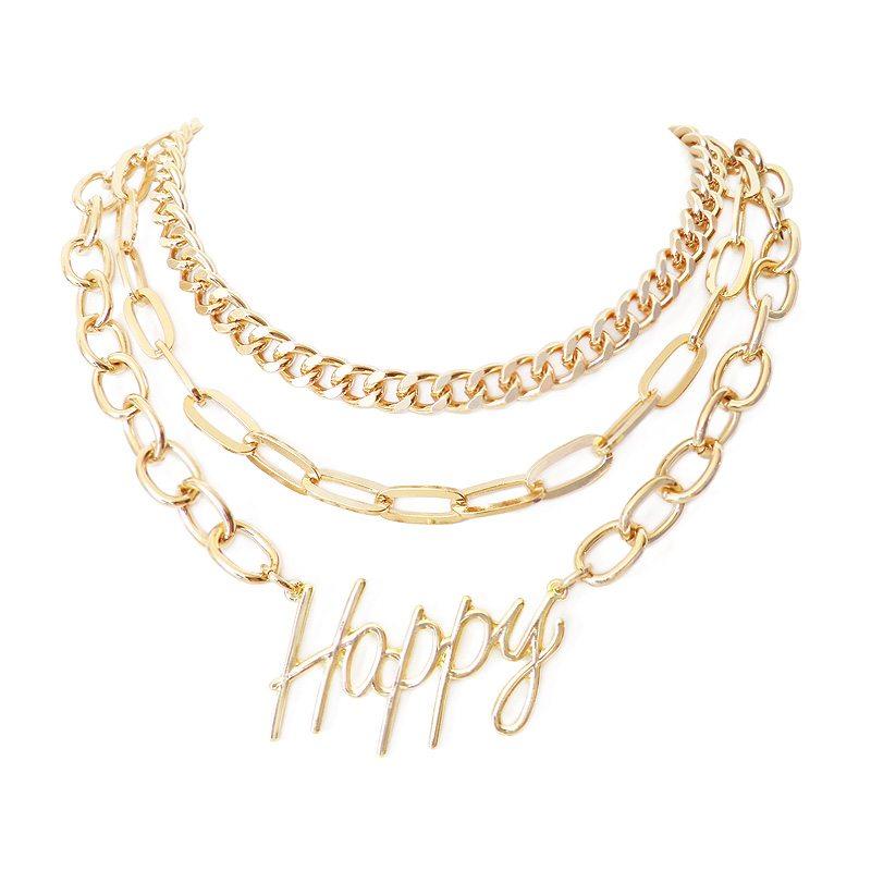 imagen de collar multicapa cadenas happy