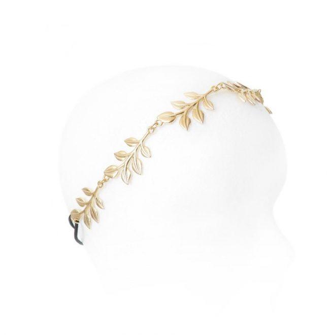 imagen de diadema hojas dorada