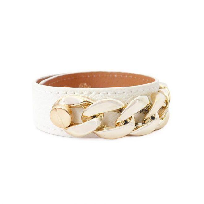 imagen de pulsera cuero eslabones blanco