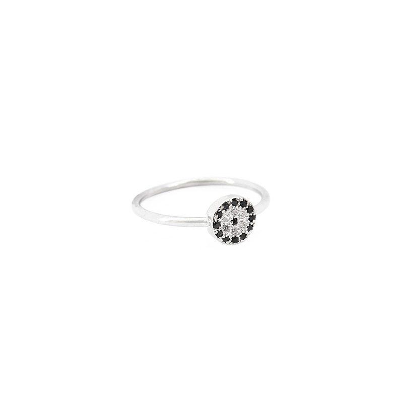 comprar anillo circulo cristales negro plata