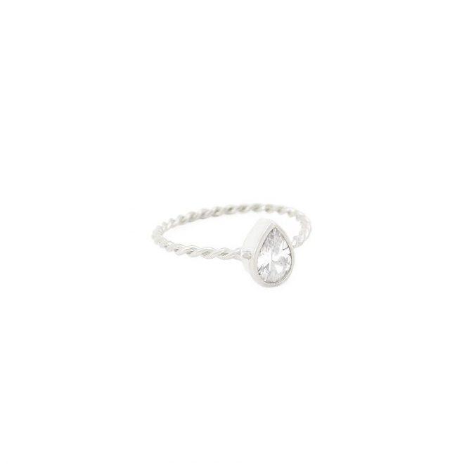 comprar anillo lagrima cristal plata