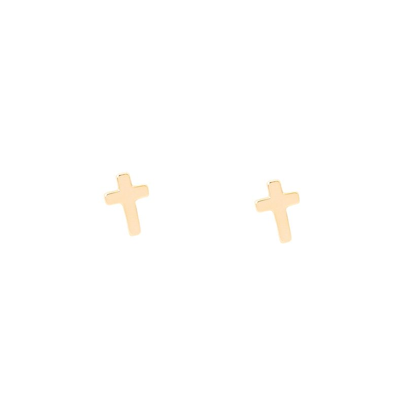 pendientes mini cruz dorados