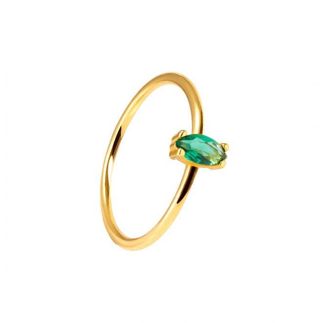 Anillo con piedra verde esmeralda