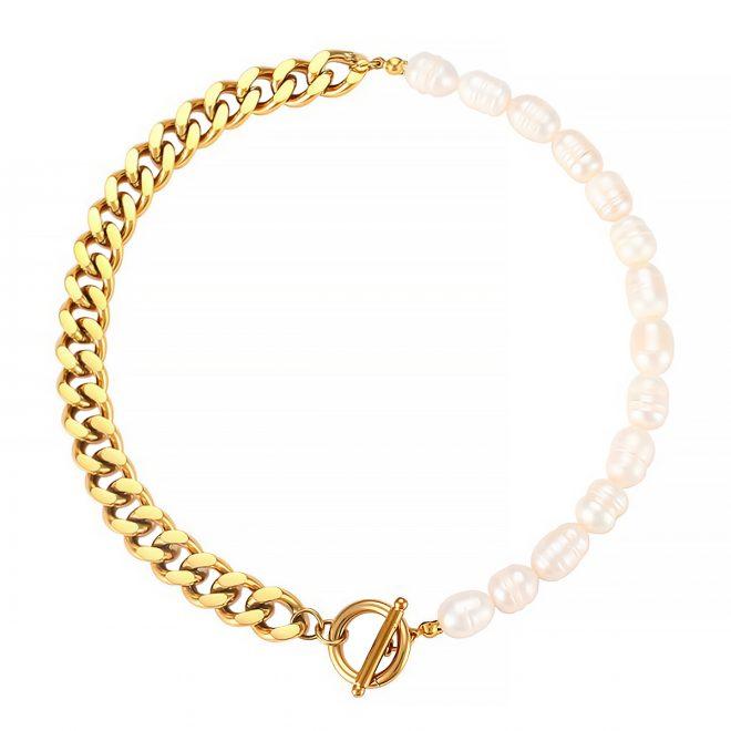 collar combinado de perlas y eslabones
