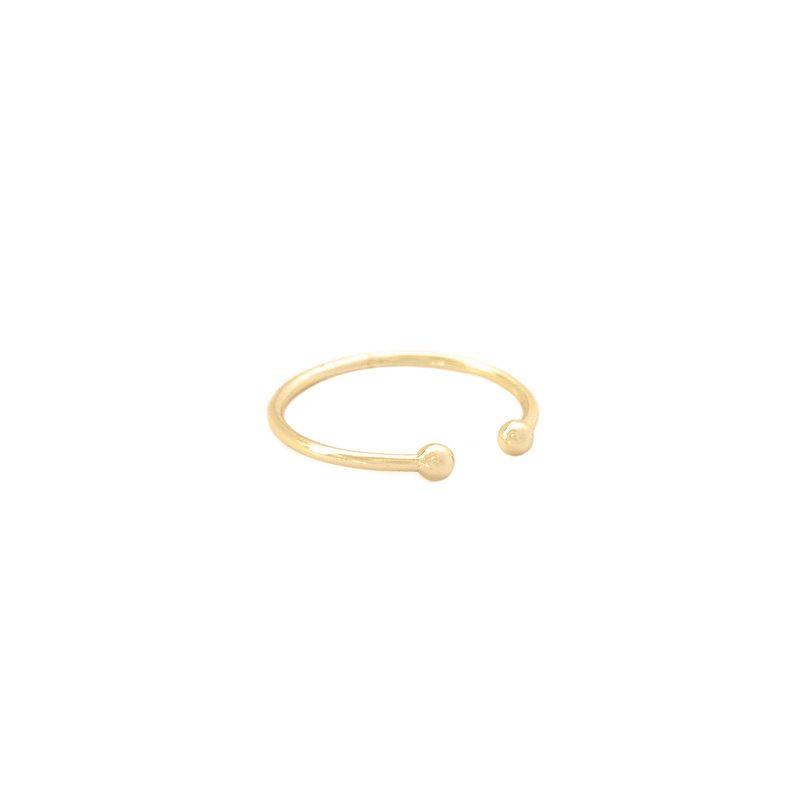 anillo bolitas dorado
