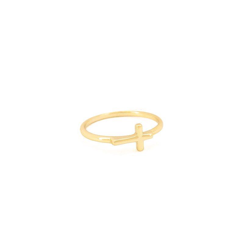 anillo cruz tumbada dorado