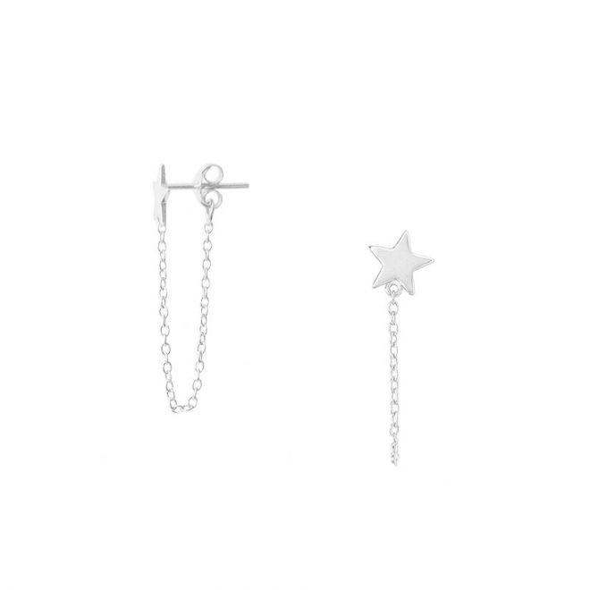 pendientes estrella con cadena plata