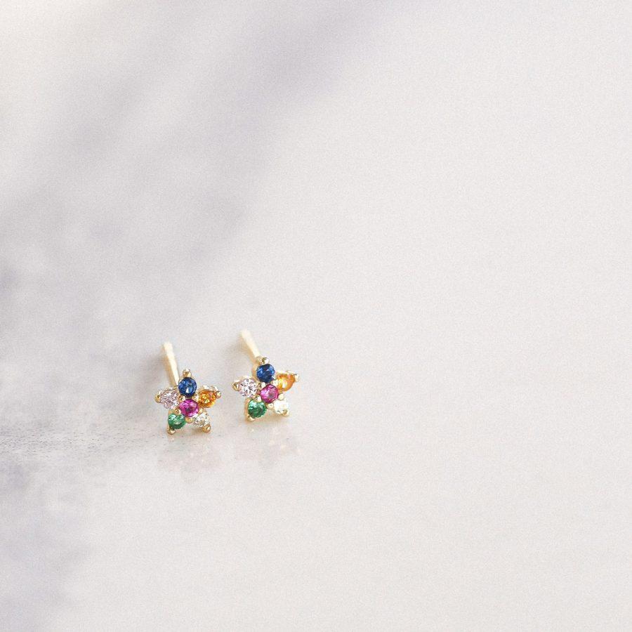 Pendientes mini flor con piedras de colores