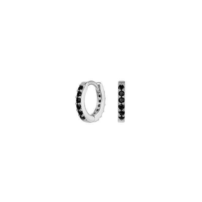 Aro pequeño de 10mm con circonitas negra en plata