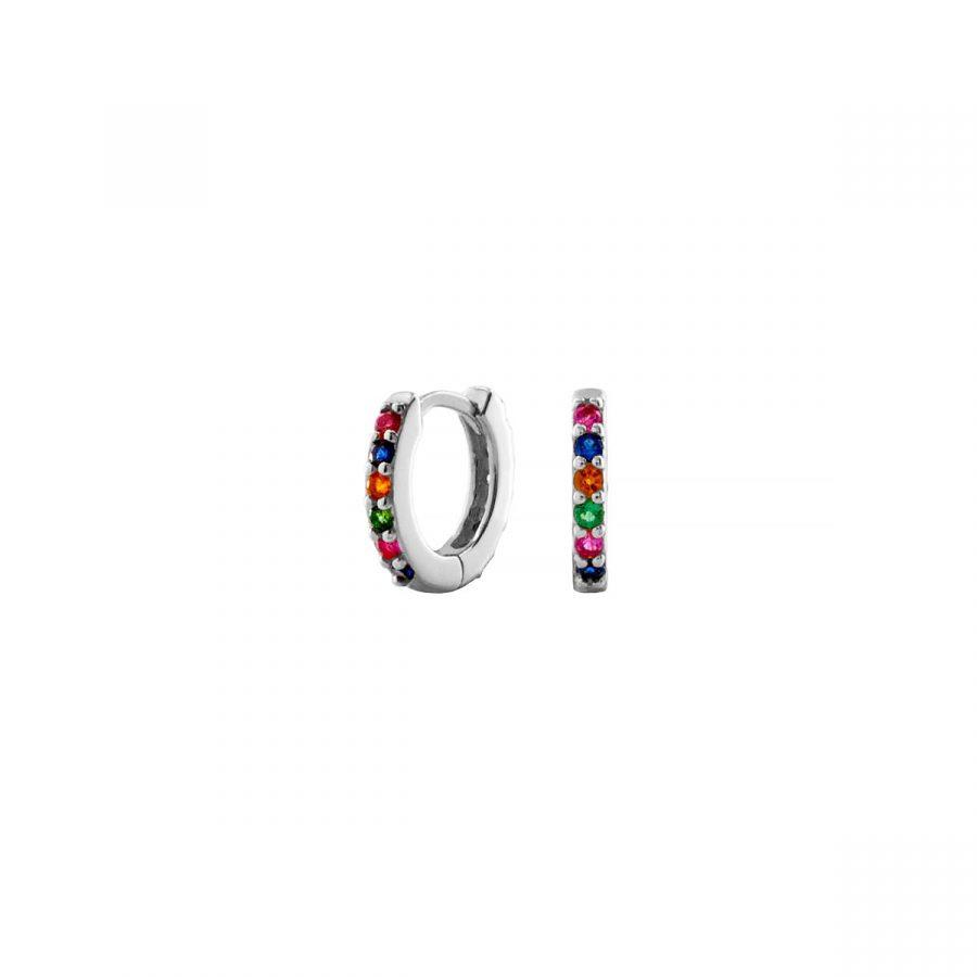 Aritos con circonitas multicolor en plata ajustados a la oreja